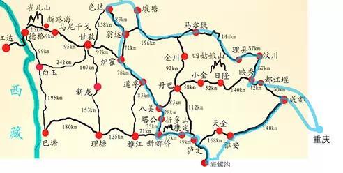 川西的线路图,蓝色的部分为老狼的自驾线路图,适合7