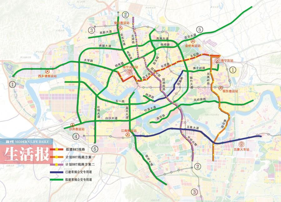 南宁实施公交专用道3年行动计划 新建3条BRT