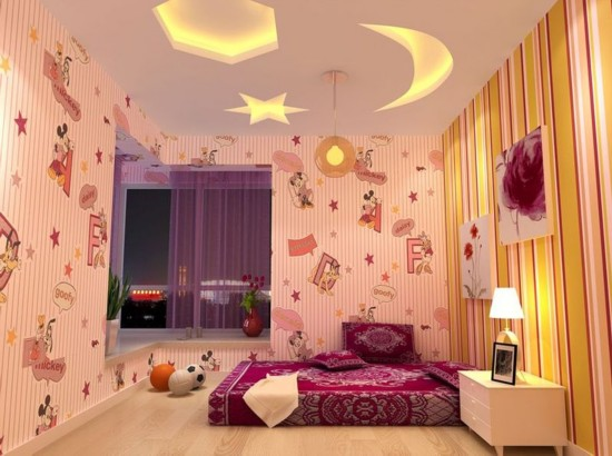 >>>更多装修效果图 卧室 客厅 厨房 玄关 卫生间 灯光照明: 儿童房要有充足的照明,孩子对黑暗往往有一种恐惧感,房间里明亮而不刺眼的照明,能让房间温暖、有安全感,对消除孩子独处时的恐惧感很有帮助。这个阶段的儿童睡眠时间多而且次数也多,应在儿童房给孩子创造一个良好的睡眠环境:灯光要尽量柔和,并以布置反射光源为宜,最好使用壁灯以代替柜灯或地灯,它既温馨柔和,又能避免散乱在地面的电线对孩子构成危险。