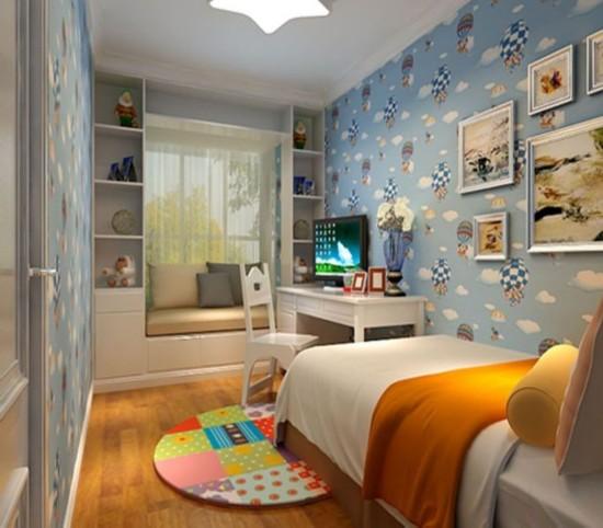 >>>更多装修效果图 卧室 客厅 厨房 玄关 卫生间 家具布置: 这个阶段孩子的儿童家具切忌成人化,宜小巧、简洁、质朴、新颖,同时要有孩子喜欢的装饰品。小巧,适合儿童的身体特点,也为儿童多留出一些活动空间;简洁则符合儿童的纯真性格;质朴能培育孩子真诚朴实的性格;新颖可激发孩子的想象力,在潜移默化中发展他们的创造性思维能力。
