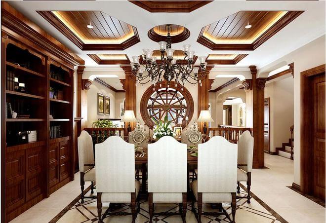美式别墅餐厅图片大全