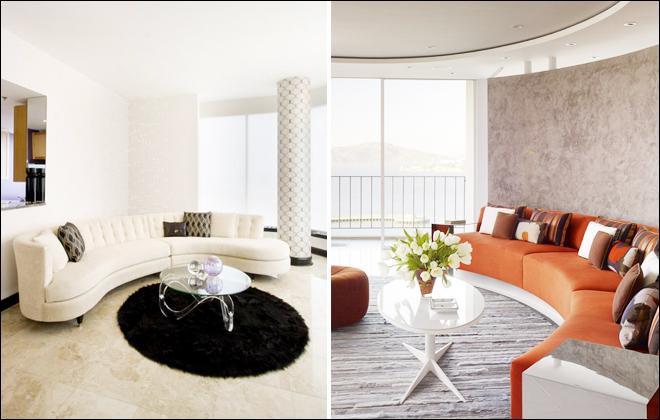 客厅弧形沙发以围合的方式摆放,很容易营造出热闹欢乐的气氛.