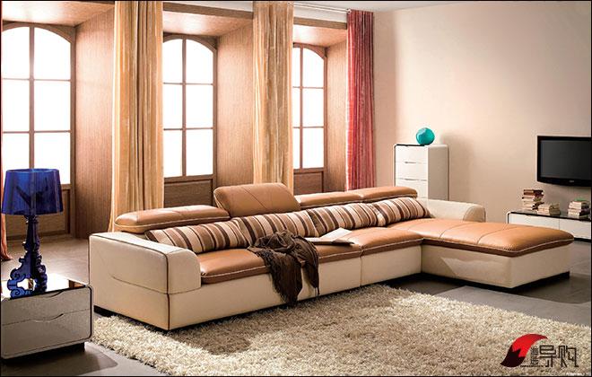 顾家家居欧式客厅真皮沙发组合、左右沙发转角客厅组合真皮沙发图片