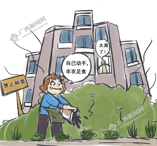 [新桂漫画]把公共绿地当菜地 大妈任性圈地为哪般