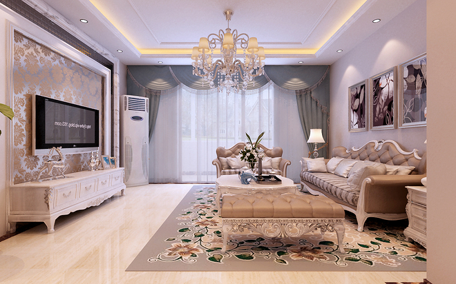 欧式古典三居客厅装修效果图大全2015图片
