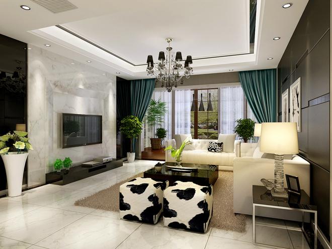 现代二居客厅装修效果图大全2015图片