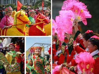 高清:宾阳举行2016年炮龙节非物质文化遗产巡游