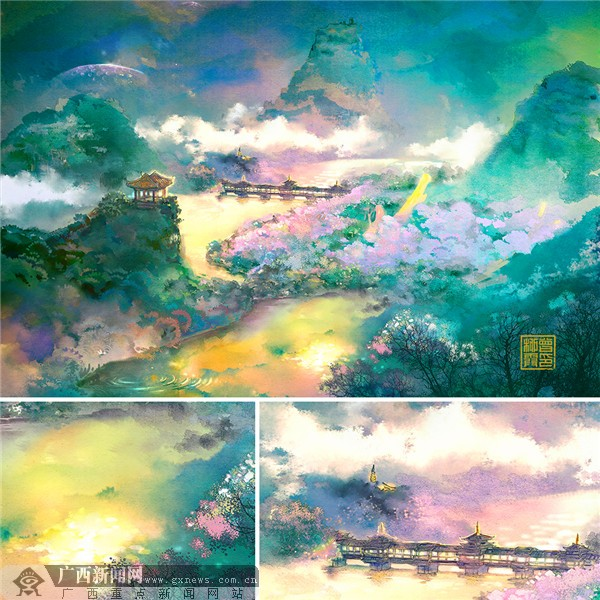 柳州市民手绘醉美柳州紫荆花城