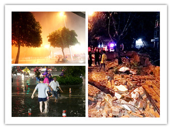 5月11日焦点图:围墙因暴雨倒塌 2名过路市民身亡