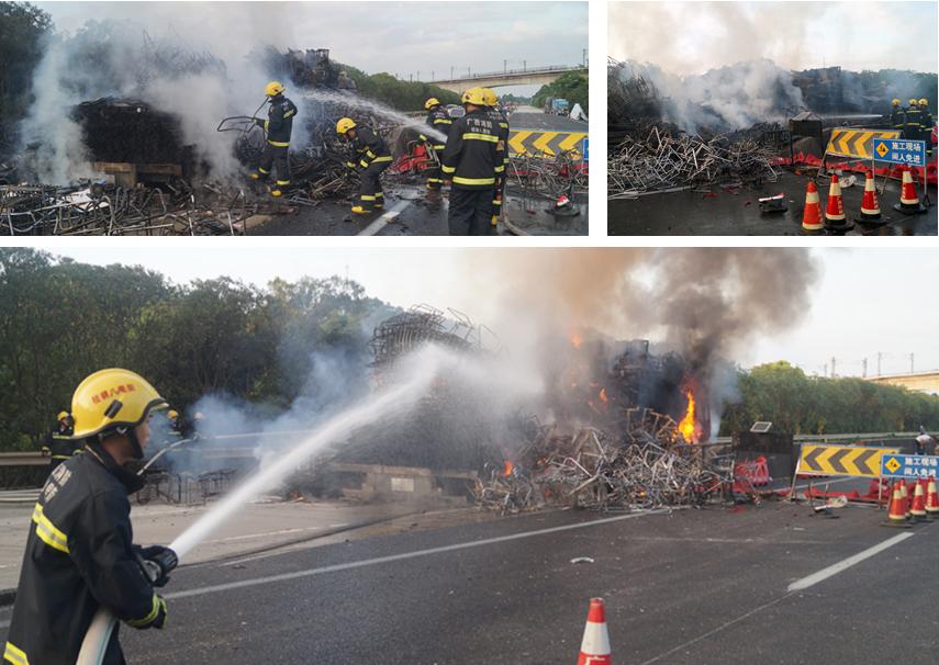 高清:货车高速路突发大火 价值百万家具付之一炬