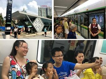 """高清:南宁市民地铁""""尝鲜"""" 列车平稳舒适获赞"""