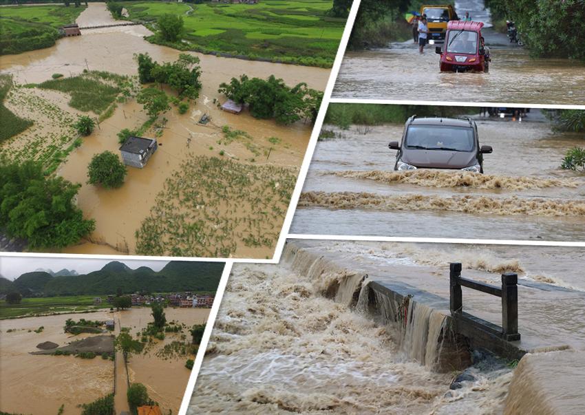 高清:航拍罗城遭大暴雨袭击 部分道路交通中断
