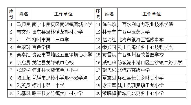 """寻找""""莫振高式八桂好老师""""20名入围人选公示"""