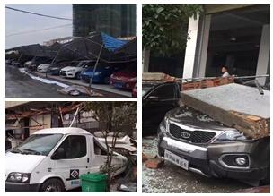 桂林临桂区遇狂风暴雨袭击 一汽车城损失惨重(图)