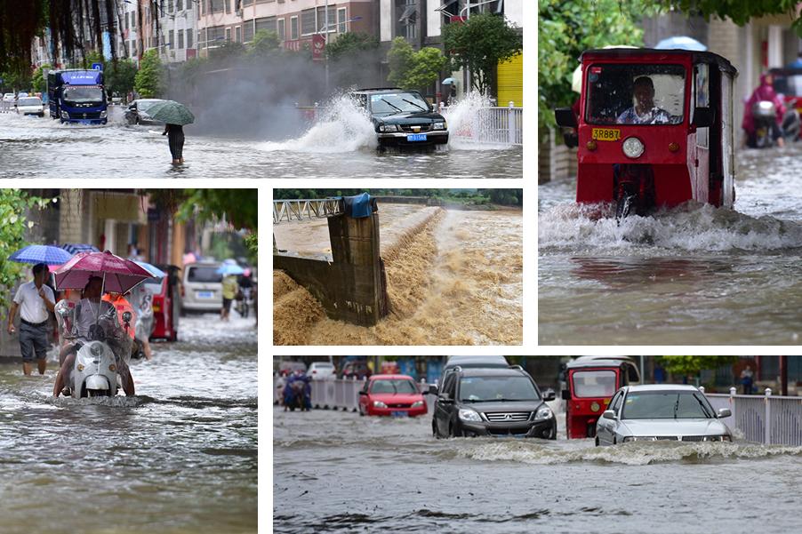 高清:罗城遭暴雨袭击 河水猛涨低洼路段积水严重