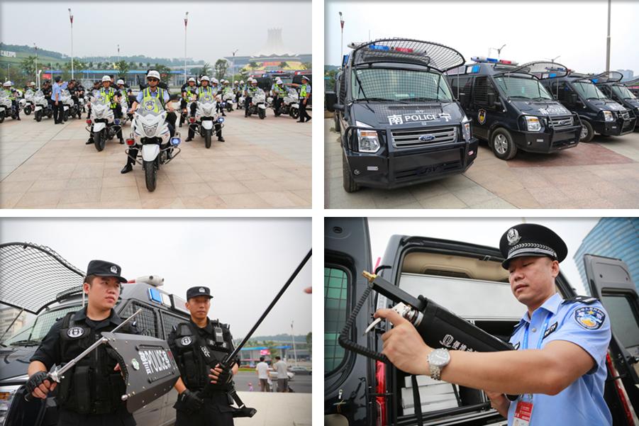 """高清:南宁警方武装巡逻车霸气登场 服务""""两会"""""""