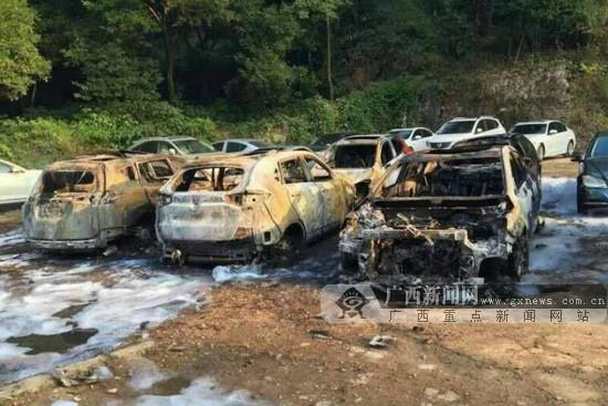 桂林阳朔一停车场发生火灾 多辆小汽车被烧损(图)