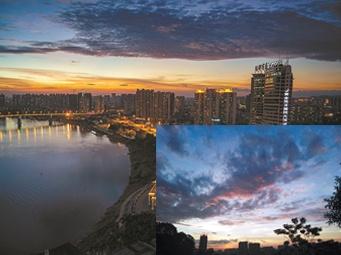 22日焦点图:南宁的超美晚霞