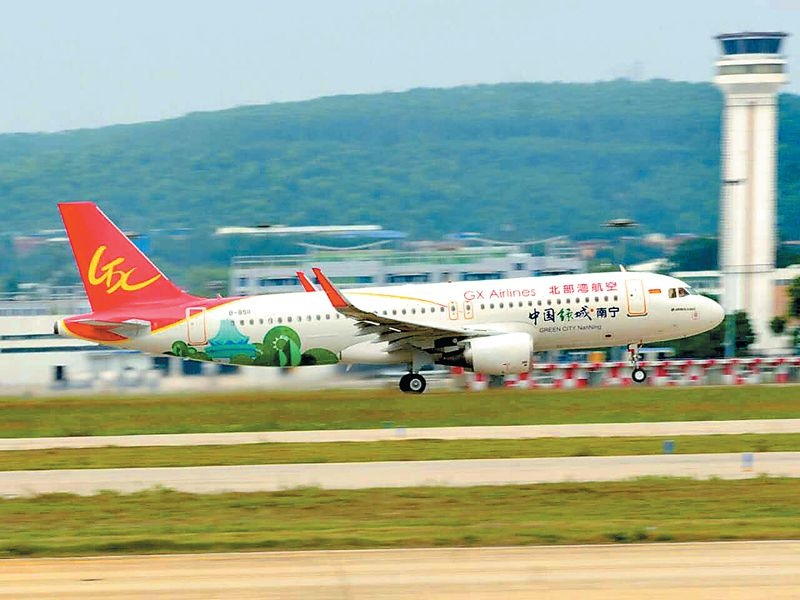 此架冠名飞机机型为a320客机,航班号gx8863,执飞南宁-合肥-青岛航线.