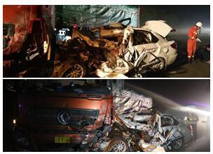 高清:大货车与小轿车在南丹相撞 致4人当场死亡