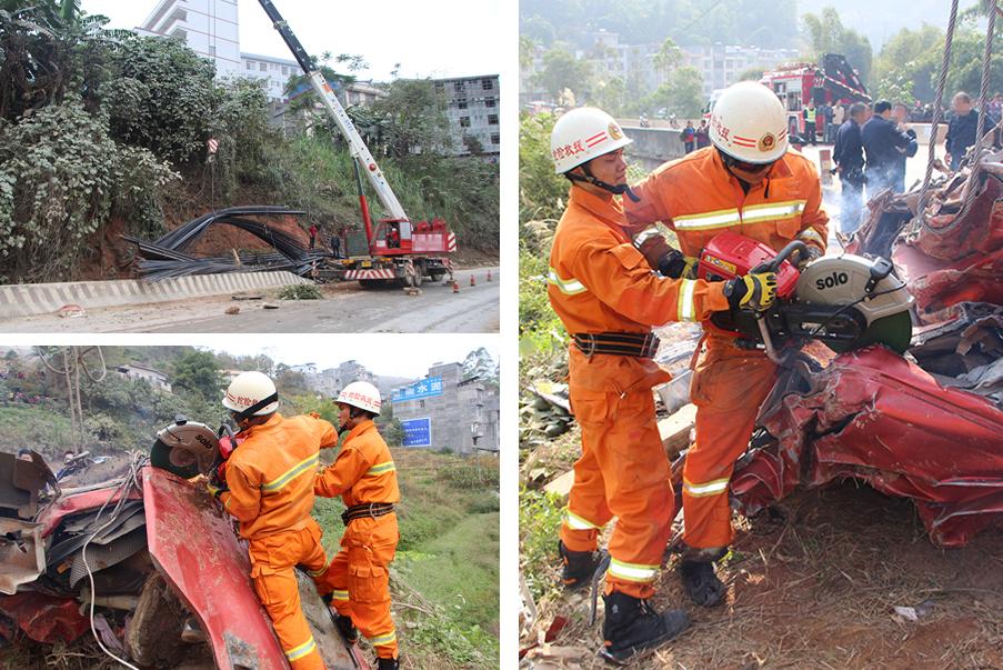 高清:大货车撞山体侧翻 车头被压扁两人当场死亡