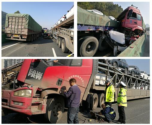 高清:泉南高速桂柳段连发2起事故 造成交通拥堵