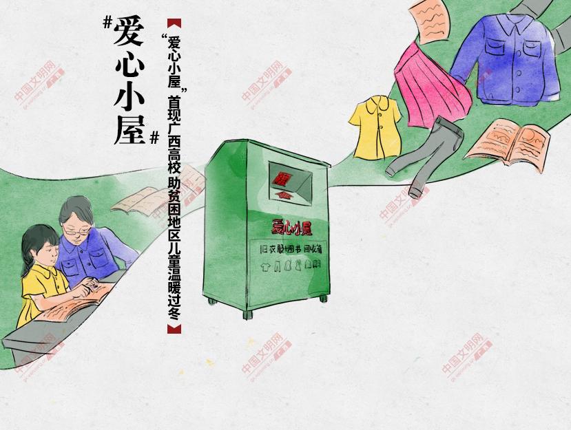 """""""爱心小屋""""首现广西高校 助贫困地区儿童温暖过冬"""