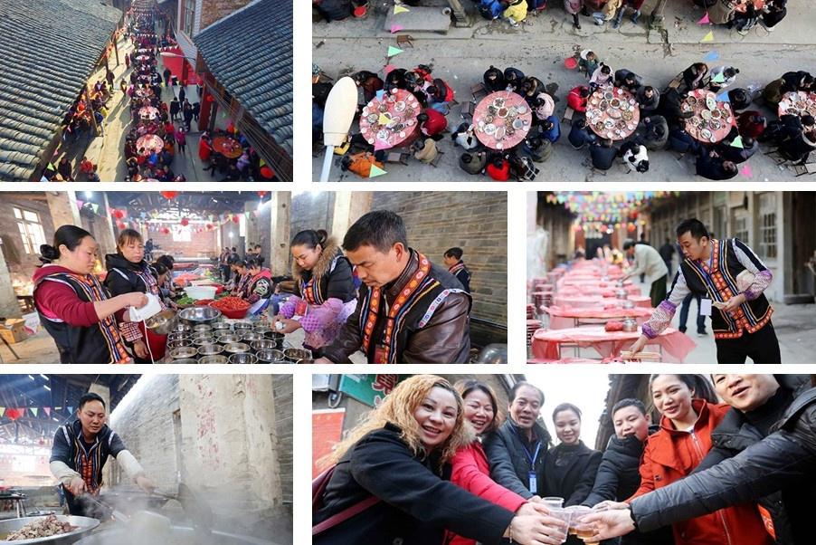 高清:融安一社区办长街宴 1500人共尝佳肴庆元宵