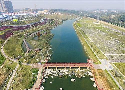 园林河道俯视图-那考河湿地公园俯瞰图(2016年12月31日摄) 新华社发-且让政府当