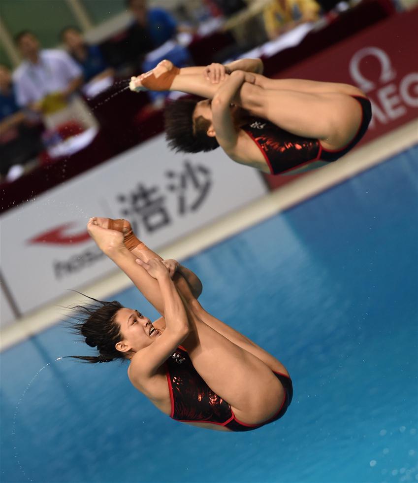 3月9日,施廷懋/许智欢(下)在比赛中。当日,在2017年国际泳联世界跳水系列赛广州站女子双人三米板决赛中,中国选手施廷懋/许智欢以345.00分的总成绩夺冠。新华社记者贾宇辰摄