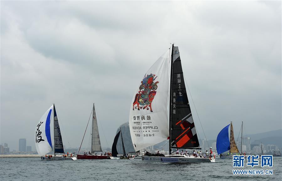 (体育)(7)帆船――2017第八届环海南岛国际大帆船赛三亚-海口拉力赛开赛