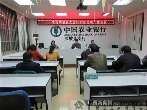 农行那坡县支行召开2017年党建工作会议