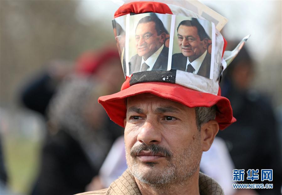 (外代一线)(1)穆巴拉克支持者举行集会
