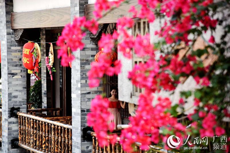 一名游客在开满鲜花的广西宜州市怀远古镇中游玩(高东风摄)