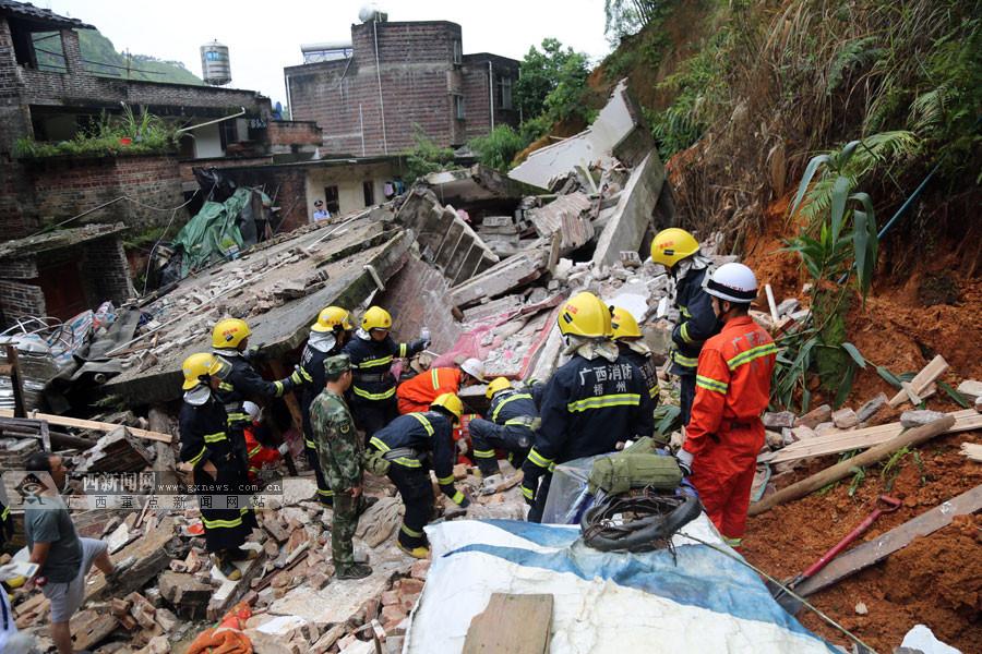 受特大暴雨影响  梧州市一房屋发生倒塌致3死4伤