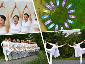 高清:国际瑜伽日 广西瑜伽爱好者花样秀瑜伽