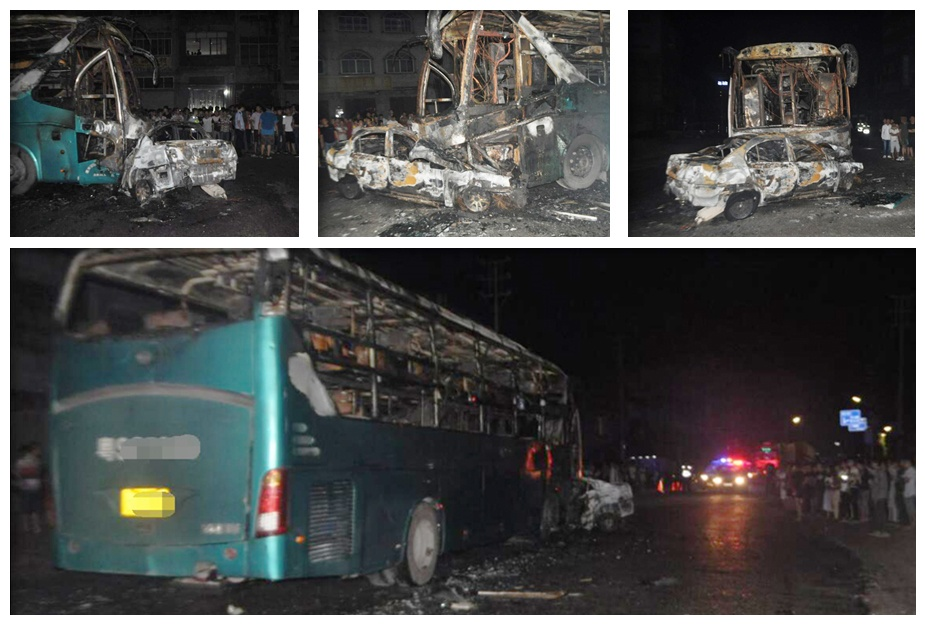 桂平:小车与客车相撞烧成铁架 2人不幸丧生(图)