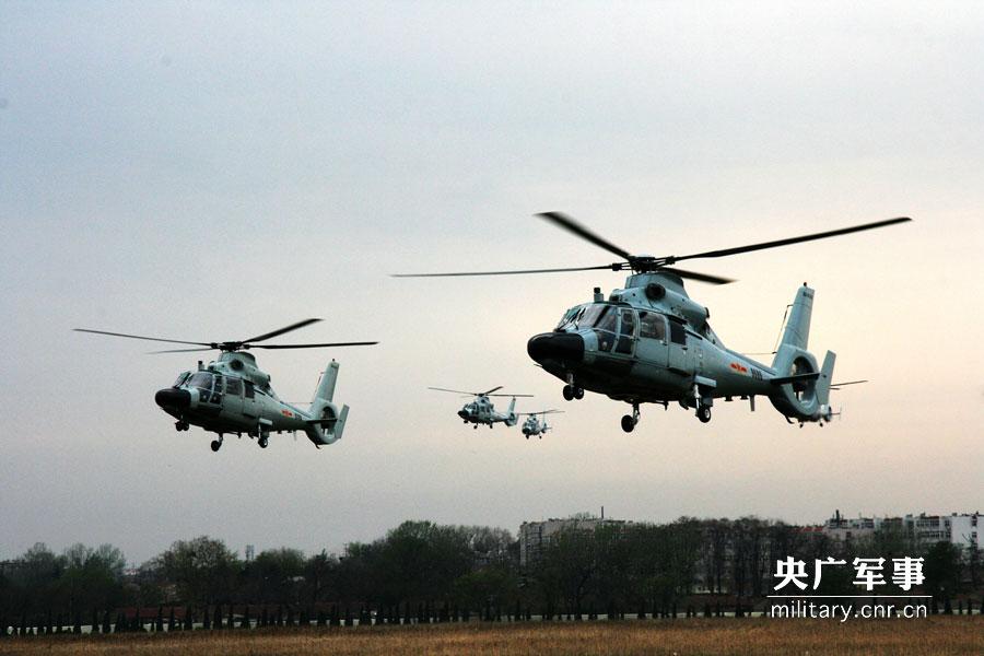 直九 直升机 编队出航.