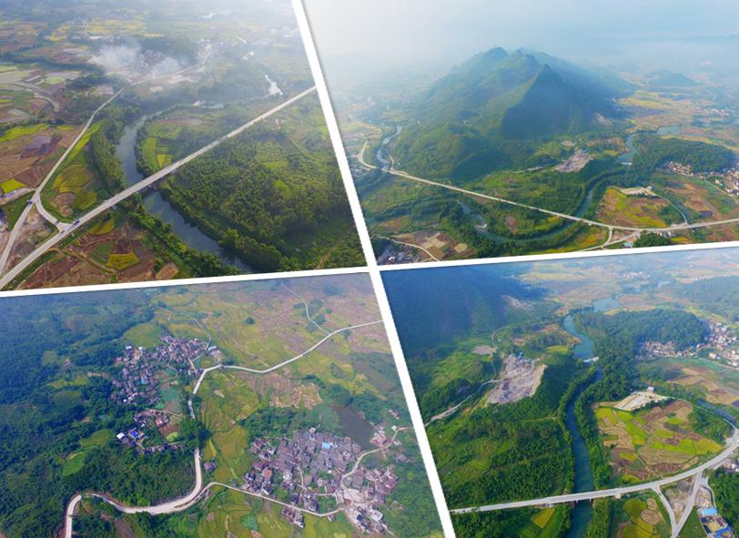 航拍:桂北通往大石山区外的脱贫致富路
