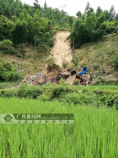 三江独峒镇发生山体崩塌 未造成人员伤亡(图)