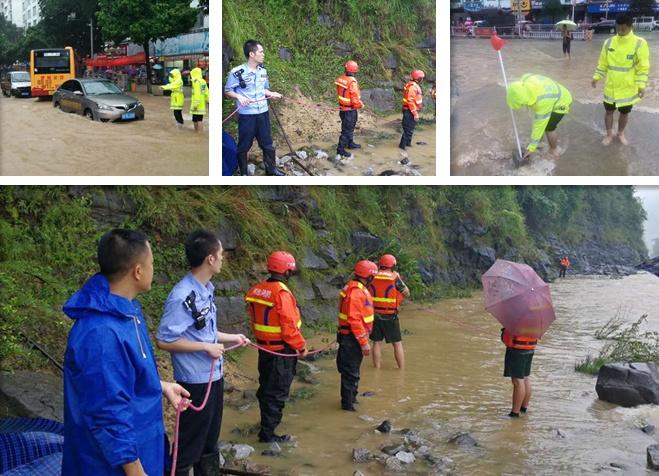 高清:强降雨袭击罗城 民警奋战在救灾一线