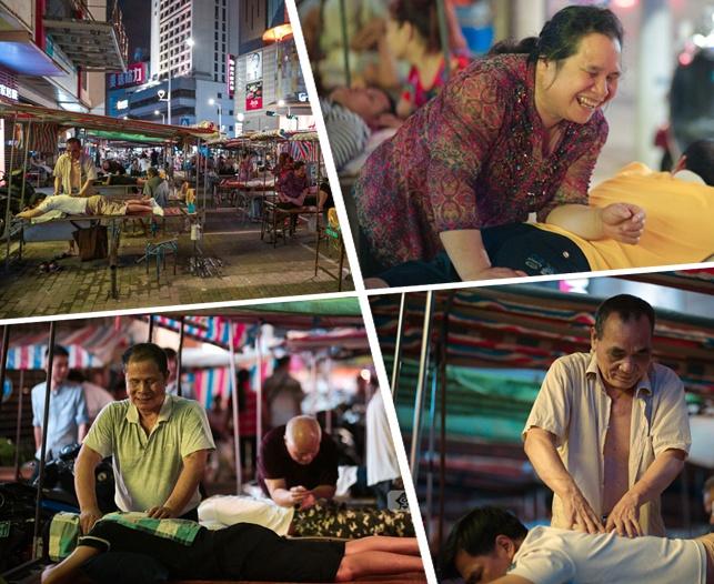 高清:盲人组团摆露天按摩夜市 为人松筋近40年