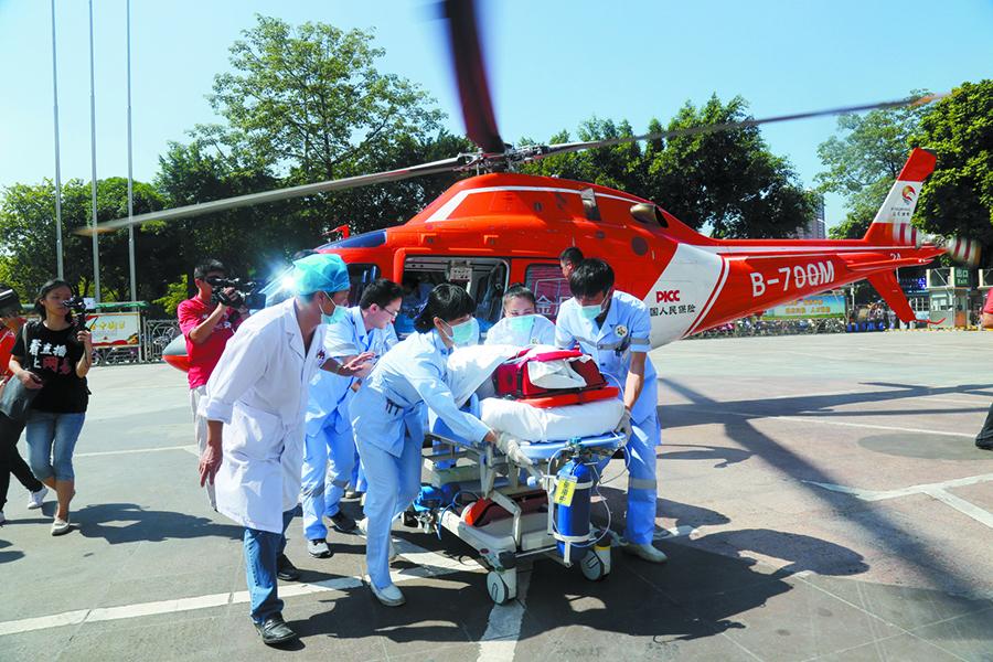 广西首次开通空中医疗急救 39分钟120公里(组图)