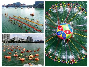 柳州:游泳爱好者畅游柳江欢度佳节(组图)