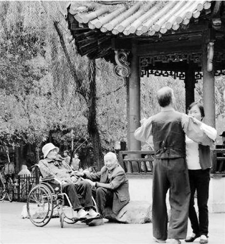 每天谢爷爷都会推着老伴去公园转转