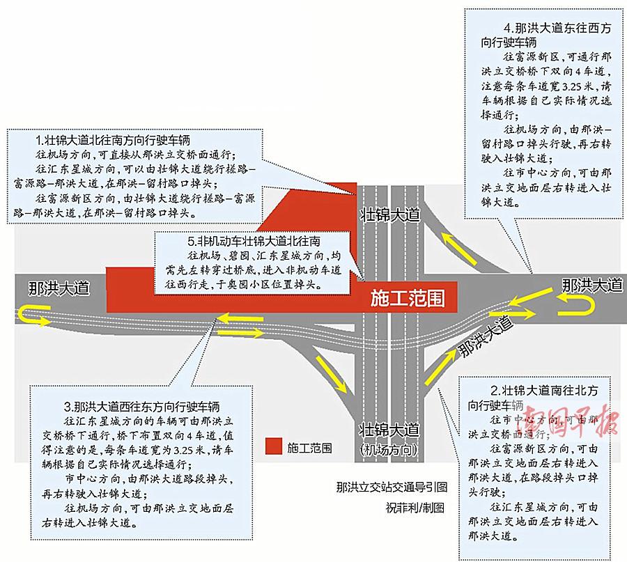 11月21日焦点图:南宁地铁4号、5号线那洪立交站封闭施工