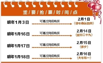 2018年春运火车票将于明年1月3日正式开售  除夕当天的火车票1月17日开始发售