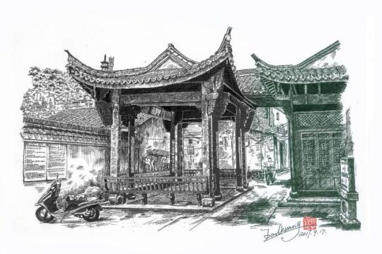 平遥古城钢笔手绘