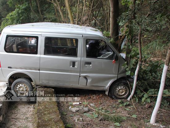 巴马一辆面包车撞上路边绿化树 被困司机获救(图)