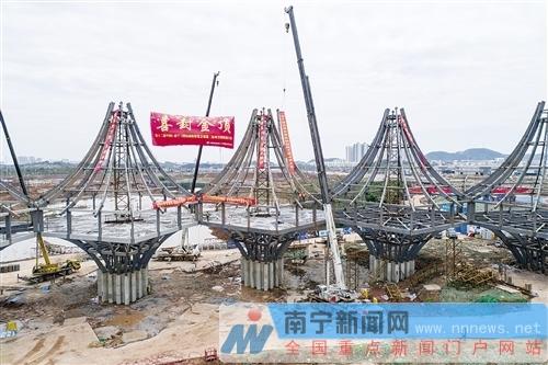 园博园东盟馆钢结构工程封顶 10个展馆外形如塔楼